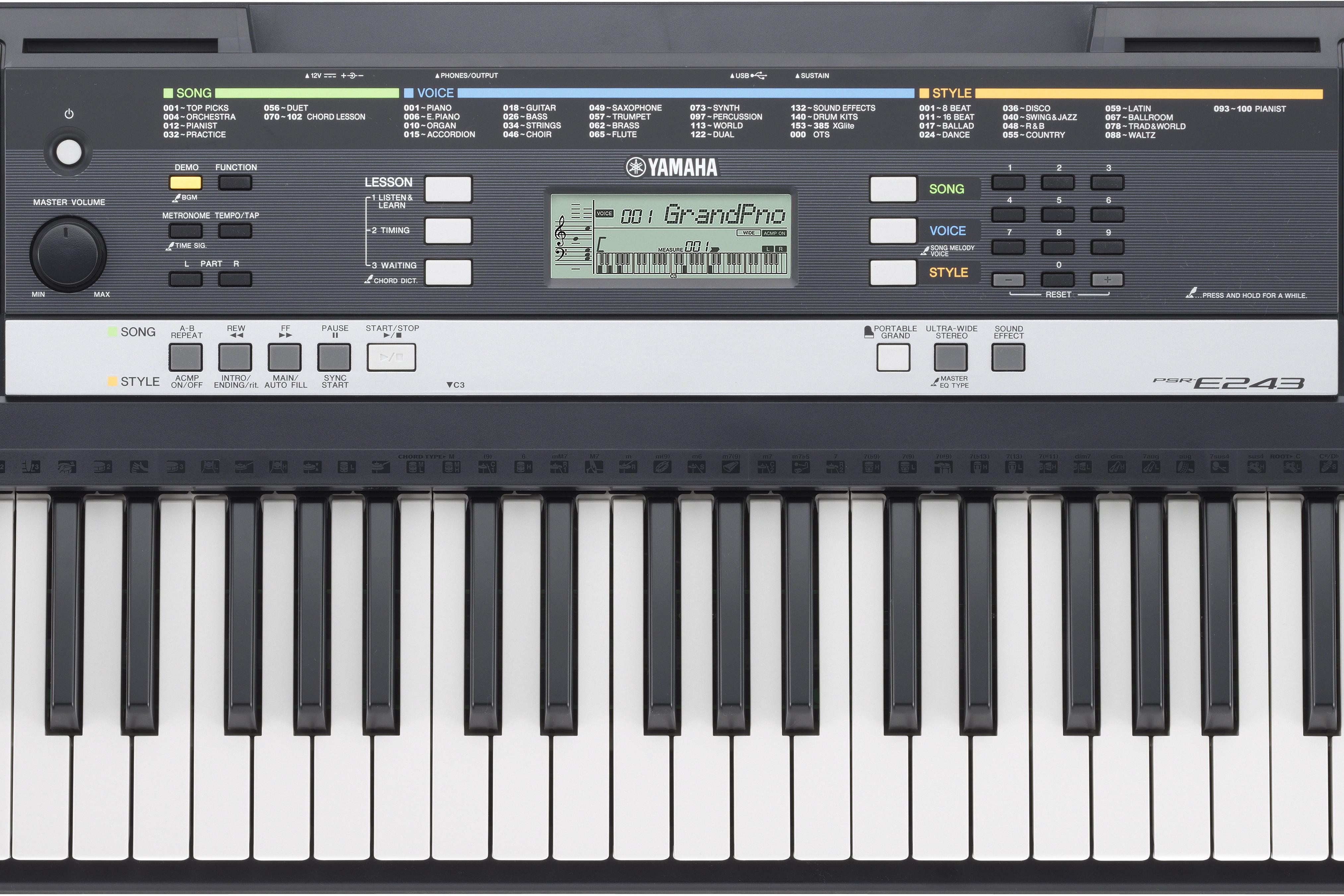 Psr e243 yamaha keyboard music arms for Yamaha psr 410 keyboard