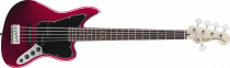 Squier Vintage Modified Jaguar Bass V Special, Rosewood Fingerboard, Crimson Red Transparent