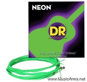 DR NGA-12 NEON Hi-Def Phosphorescent Green Medium Acoustic Guitar Strings