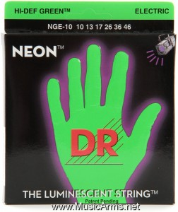 DR NGE-10 Neon Hi-Def Green K3 Coated Medium Electric Guitar Strings ขายราคาพิเศษ
