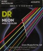 DR NMCA-11 Neon Multi-Color K3 Coated Acoustic Guitar Strings