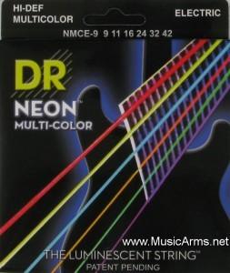 DR NMCE-9 Neon Hi-Def Multi-Color K3 Coated Lite Electric Guitar Strings