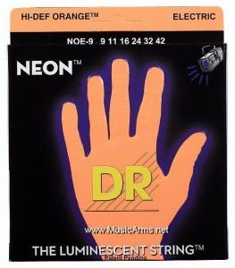 DR NOE-9 Neon Hi-Def Orange K3 Coated Lite Electric Guitar Strings ขายราคาพิเศษ