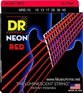 DR NRE-10 Neon Hi-Def Red K3 Coated Medium Electric Guitar Strings