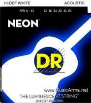 DR NWA-12 NEON Hi-Def Phosphorescent White Medium Acoustic Guitar Strings