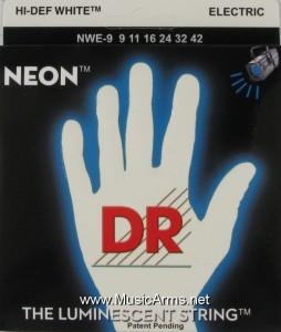 DR NWE-9 Neon Hi-Def White K3 Coated Lite Electric Guitar Strings