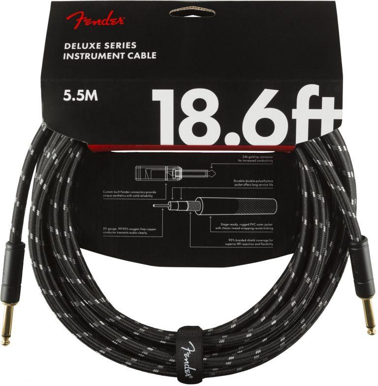 สายแจ็ค Fender Deluxe Series 18.6 Ft. Black หัวตรง ขายราคาพิเศษ
